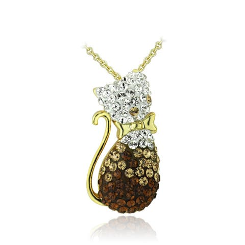 Crystal Ice Goldtone Multi-color Crystal Cat Necklace with Swarovski Elements