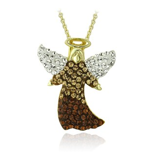 Crystal Ice Goldtone Multi-color Crystal Angel Necklace with Swarovski Elements