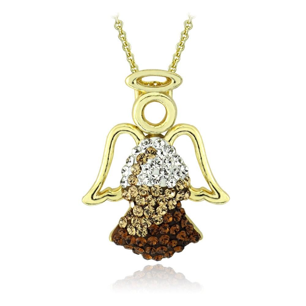 Crystal Ice Goldtone Crystal Angel Necklace with Swarovsk...