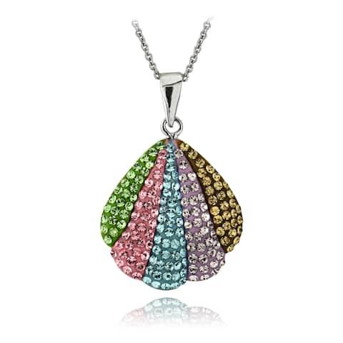 Crystal Ice Silver-tone European Crystal Seashell Pendant Necklace