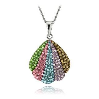 Crystal Ice Silvertone Crystal Seashell Necklace with Swarovski Elements