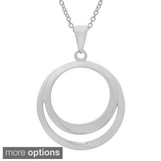 Gioelli Sterling Silver High Polish Double Ring Pendant Necklace