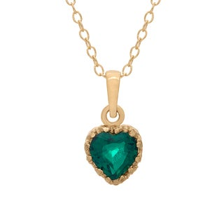 Gioelli Yellow Gold Over Silver Heart-cut Simulated Emerald Tiara Pendant Necklace