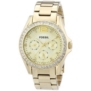 Fossil Women's ES3203 Riley Multifunction Stainless Steel Gold-Tone Watch