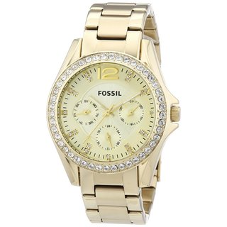 Fossil Women's ES3203 Riley Multifunction Stainless Steel Gold-Tone Watch - GOLD