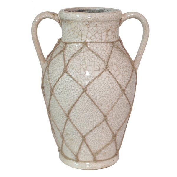 Shop Cream Color Ceramic Vase Free Shipping Today Overstock