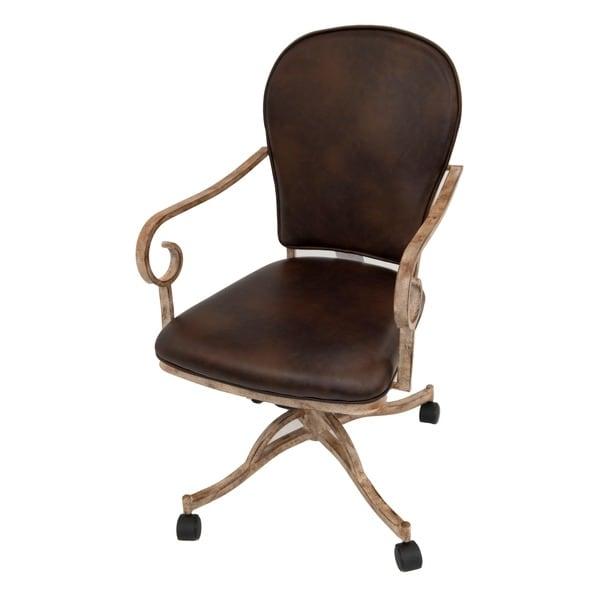 Shop Casual Dining Brown Cushion Swivel And Tilt Rolling: Shop Villa Nova Vinyl Caster Chair