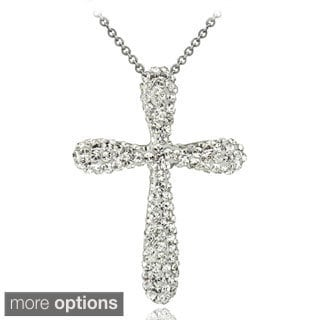 Crystal Ice Silvertone Crystal Cross Necklace with Swarovski Elements