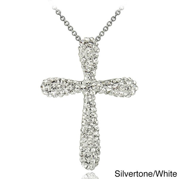 cc12fd599f Crystal Ice Silvertone Crystal Cross Necklace with Swarovski Elements