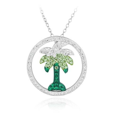Crystal Ice Silvertone Crystal Palm Tree Necklace with Swarovski Elements