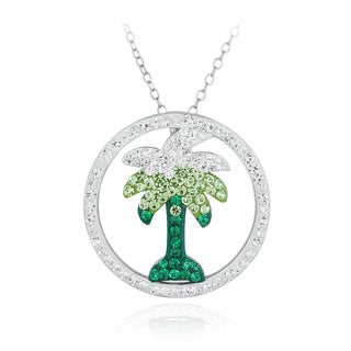 Crystal Ice Silvertone Crystal Palm Tree Necklace with Swarovski Elements