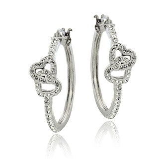 Crystal Ice Silvertone and Crystal Double Heart Earrings with Swarovski Elements