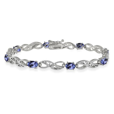 Glitzy Rocks Sterling Silver 4 2/5ct TGW Tanzanite and Diamond Accent Filigree Infinity Bracelet