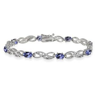Glitzy Rocks Sterling Silver 4 2/5ct TGW Tanzanite and Diamond Accent Filigree Infinity Bracelet