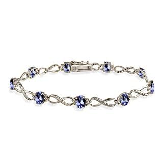Glitzy Rocks Sterling Silver 5ct TGW Tanzanite and Diamond Accent Infinity Bracelet