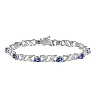 Glitzy Rocks Sterling Silver 5ct TGW Tanzanite and Diamond Accent X and Oval Pattern Bracelet