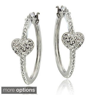 Crystal Ice Sterling Silver and Crystal Heart Hoop Earrings with Swarovski Elements