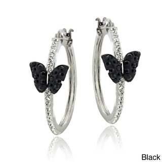 Crystal Ice Silvertone And Crystal Butterfly Hoop Earrings with Swarovski Elements