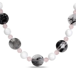 Miadora Silver Rutilated Quartz, White Jasper and Rose Quartz Necklace