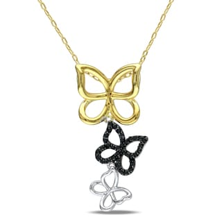 Miadora Sterling Silver 1/5ct TDW Diamond Butterfly Necklace