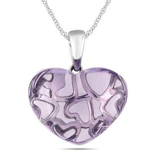 Miadora 10k White Gold 9 1/3ct TGW Rose de France Heart Necklace