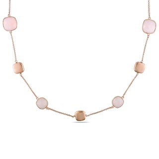 Miadora Rose Gold Flash Plated Silver 46ct TGW Pink Chalcedony Necklace