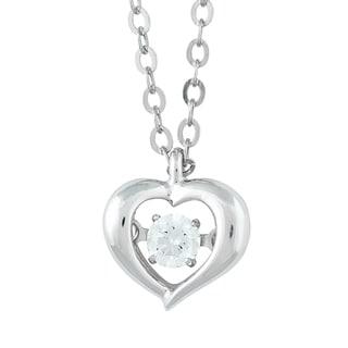 La Preciosa Sterling Silver Cubic Zirconia Small Heart Dancing Pendant