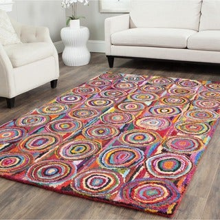 Safavieh Handmade Nantucket Modern Abstract Pink/ Multi Cotton Rug (11' x 15')