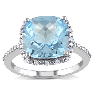 Miadora 10k White Gold Sky Blue Topaz and 1/10ct TDW Diamond Ring (H-I, I2-I3)