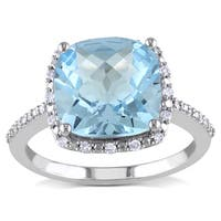 Miadora 10k White Gold Sky Blue Topaz and 1/10ct TDW Diamond Ring (H-I, I2-I3)