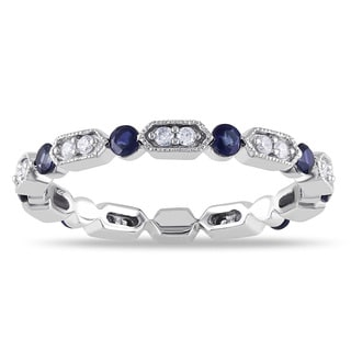 Miadora 14k White Gold Sapphire and 1/6ct TDW Diamond Eternity Ring (G-H, I1-I2)