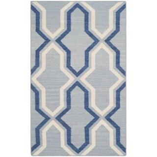Safavieh Hand-woven Reversible Dhurries Light Blue/ Dark Blue Wool Rug (2'6 x 4')