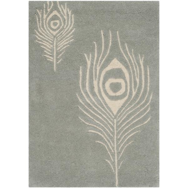 Safavieh Hand-Tufted Soho Grey/ Ivory Wool/ Viscose Rug (2'6 x 4')