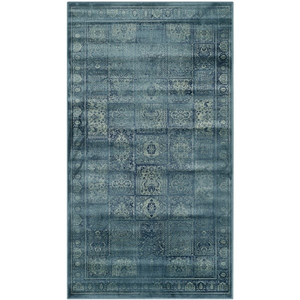 Safavieh Vintage Turquoise/ Multi Distressed Panels Silky Viscose Rug (2'7 x 4')