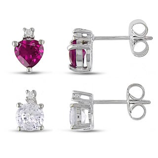 Miadora Silver Created Pink and White Sapphire and Diamond Accent Earrings (Set of 2)