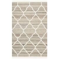 Safavieh Hand-Woven Natural Kilim Light Grey/ Ivory Wool Rug - 2' X 3'