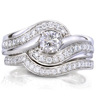 Annello by Kobelli 14k White Gold 3/4ct TDW Round Diamond 2-piece Bridal Rings Set (H-I,