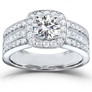 Annello by Kobelli 14k White Gold 2ct TDW Round-cut Diamond Halo Engagement Ring