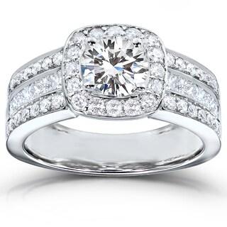 Annello by Kobelli 14k White Gold 2ct TDW Round-cut Diamond Halo Engagement Ring