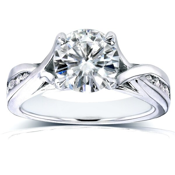 Annello by Kobelli 14k White Gold 1 1/5ct TGW Moissanite (HI) and Channel Diamonds Engagement Ring