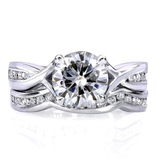 Annello by Kobelli 14k White Gold 1 1/2ct TGW Moissanite (HI) and Channel-set Diamond Bridal Rings Set
