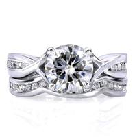 Annello by Kobelli 14k White Gold 1 1/2ct TGW Moissanite and Channel-set Diamond Bridal Rings Set