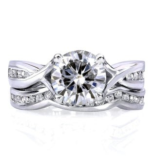 Annello by Kobelli 14k White Gold 1 1/2ct TGW Moissanite (HI) and Channel-set Diamond Bridal Rings Set