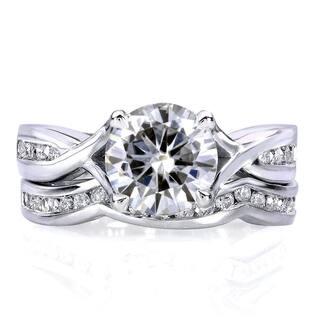 Annello by Kobelli 14k White Gold 1 1/2ct TGW Moissanite and Channel-set Diamond Bridal Rings Set