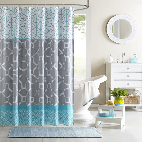 Shop Taylor Olive Goose Blue Geometric Shower Curtain