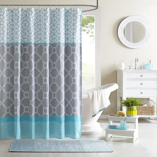 Clay Alder Home Niantic Blue Geometric Shower Curtain