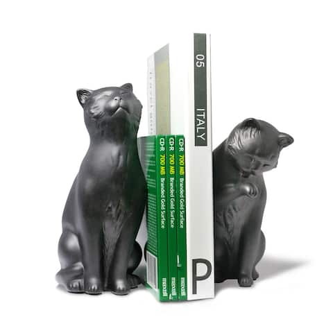 Cat Bookend Set - Black
