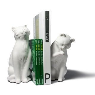 White Cat Bookend Set