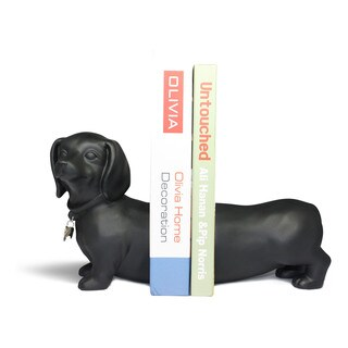 Black Dachshund Dog Bookend Set