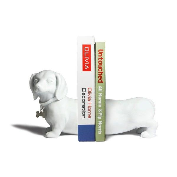 White Dachshund Dog Bookend Set